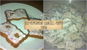 peppermint cookie and puppy chow collage