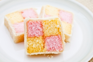 Three slices of Battenburg cake